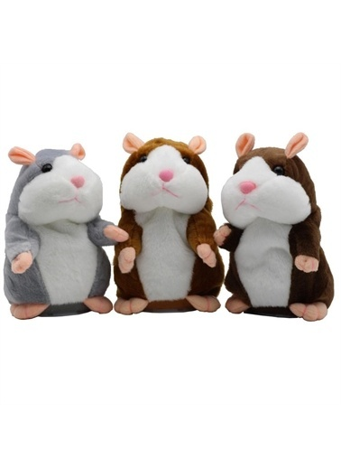 Sole Konuşan Hareketli Peluş Hamster Oyuncak -Talking Hamster Renkli